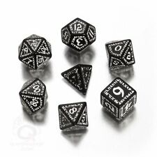 Q-Workshop Runic RPG Dice Set (7 Polyhedral) Black & White SRUN05