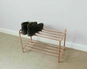 Shoe rack made from copper pipe 2 TIER STEAMPUNK INDUSTRIAL