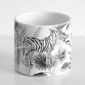 White Zebra Floral Ceramic Indoor Small 13cm Round Plant Pot Cover Home Planter