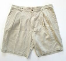 Tommy Bahama 100% Silk Shorts 38 Relax Khaki Beige Tan Golf Pleated Front