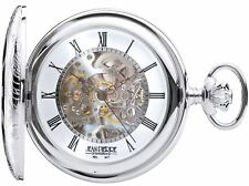 Sterling Silver Skeleton Pocket Watch Half Hunter 17 Jewel Mechanical Movement