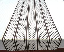 Tischläufer,Tischset,Tischdecke 46x135cm natur-weiß,braun, Streifen+Punkte Retro