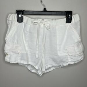 Joie Sz XS White 100% LINEN Mini Cargo Style Shorts Drawstring Relaxed Fit