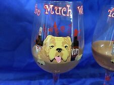 GEORGIA BULLDOGS Pair WIne Whine Glasses Handpainted SET OF TWO Bulldog