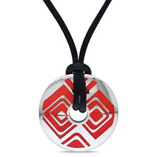"Stainless Steel and Red Epoxy Fashion Pendant Necklace with 20"" Silk Rope Chain"