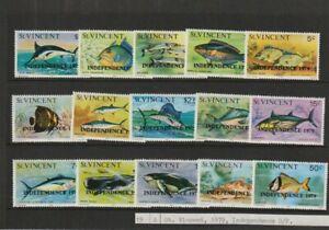 St Vincent. full set of stamps 1979 Fish - overprint Independence, Mint-MNH