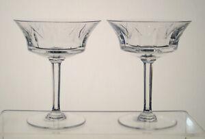 "VAL ST LAMBERT CRYSTAL Champagne Sherbets 5 1/8"" SET of 2, BIRKS CRYSTAL, CP1248"