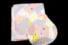 "Baby Girl Blanket Handmade Crochet Flannel With Burp Bib Pink/Purple 44 X 42"""