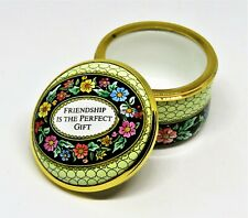 """Halcyon Days Enamel Box - """"Friendship Is The Perfect Gift"""" - Flowers"""