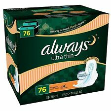 Always Ultra Thin Overnight Pads with Wings (76 ct.) |NO SALES TAX|