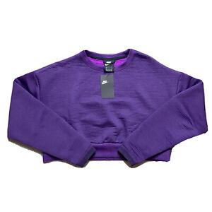 Nike Sportswear City Ready Fleece Crew Purple Crop Sweatshirt Women's Small $130