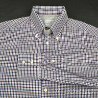BRUNELLO CUCINELLI Blue Plaid Check 100% Cotton SLIM Luxury Dress Shirt - MEDIUM