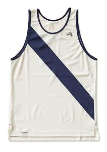 NWT TRACKSMITH HARE A.C. SINGLET IN IVORY/NAVY SIZE M