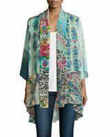 NWT Johnny Was Mixed Print Silk Tie Front Kimono Jacket Sz PM Pockets Multi