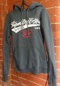SUPERDRY Navy Hoodie With SuperDry Logo In White & Red - Size M