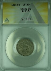 1866 Shield Nickel 5c ANACS VF-30 (Very Fine-30)