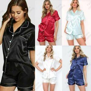 New Women's SATIN Short Sleeve Pyjamas Set Ladies Button Up Top PJ Shorts Set
