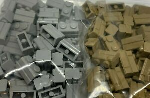 New - Lego 50 1x2 Brick 98283 - Masonry Effect Light Grey Dark Tan - You Choose