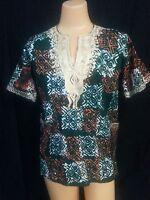 VTG Dashiki Top Shirt Green Orange White Embroidery Black Africa Tribal Hippy M