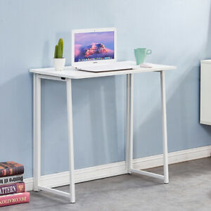 Foldable Computer Desk Study Table Folding PC Laptop Home Office Simple White UK