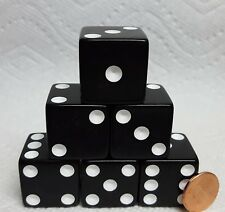 Dice -25mm Opaque Black w/White Pips -  Set of six - Very LARGE & Easy To See QQ