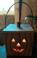 Primitive Farmhouse Country Halloween Wooden Pumpkin Fall Lamp Light Wire Handle