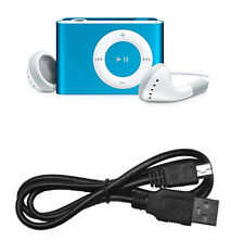 MINI CLIP REPRODUCTOR MP3 AZUL PARA MICRO SD 8GB AURICULARES Y CABLE INCLUIDOS
