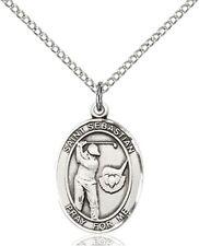 Sterling Silver Saint Sebastian Golf Sports Athlete Medal, 3/4 Inch
