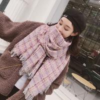 Women Tweed Scarf Winter Warm Fringe Fuzzy Wool Blend Houndstooth Plaid Shawl US