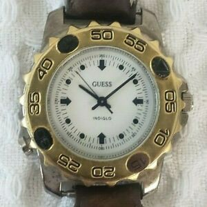 Vintage Men's 1994 GUESS INDIGLO Watch Brown Leather Wristband W *NEW Battery*