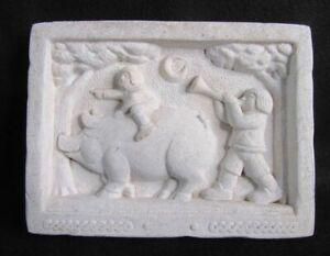 Vintage Carruth Studio Cast Stone Garden Wall Plaque Pig Rider Kids Parade 1987