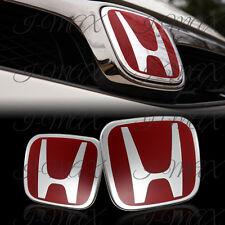 Red JDM H Emblem 2PCS Set Front & Rear For 2008-2017 HONDA ACCORD SEDAN 4DR