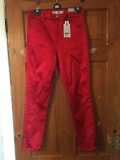 Topshop Red Faux Satin Stretch High Rise Disco Pants/Jeans Size 30/30