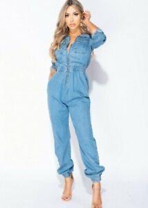 Women Long Sleeve Denim Jeans Utility Jumpsuit Loose Boiler Suit Romper Playsuit