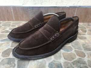 Tricker's James Men's Chocolate Suede Leather Penny Loafers Sz UK 9/US 10