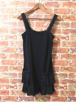 Juicy Couture sz S Black Ruffle Tunic Top Blouse Bow Detail Lace