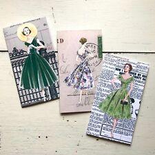 Vintage Ladies Standard Size Traveler's Notebook Style Notebooks Set of 3