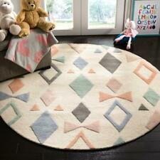 NEW Safavieh Baby Kids Hand Made Tufted 100% Wool Rug Ivory and Multi 5' Round