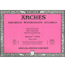 Arches : Aquarelle : Block : 16x12in : 20 Sheets : Glued : Hot Pressed