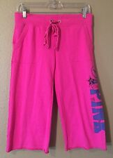 VICTORIA'S SECRET PINK BRAND HOT PINK CROPPED SWEATPANTS