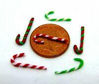 1:12 Échelle 6 Assortiment Rayé Candy Cannes Tumdee Maison de Poupées Miniature
