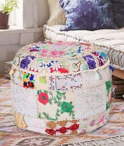 Indian Ottomans Pouf Cover Embroidery Round Ottoman Cover Patchwork Home Decor