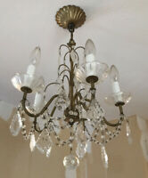 Vintage Petite Tole Crystal Beaded French Chandelier 5 Light
