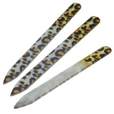 New 3pcs Leopard Durable Crystal Glass Nail File Buffer Art Files Manicure Tool