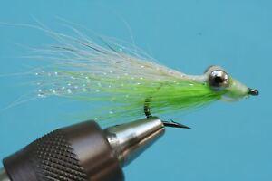 Fliegentom Streamer 3 pieces Clouser Deep Minnow white/chartreuse