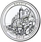 "2012 ACADIA, MAINE ""ATB"" NATIONAL PARK QUARTER P+D 2-COIN SET BRILLIANT UNCIRCUL"