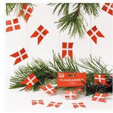 Traditional Danish Paper Flag Garland X 2 - Jul/Christmas