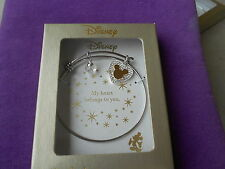 "Disney NWT Mickey Mouse ""My Heart Belongs to You"" Crystal Charm Bracelet"