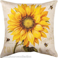 "PILLOWS - PROVENCAL SUNFLOWER INDOOR OUTDOOR PILLOW - 18"" SQUARE - FLORAL DECOR"