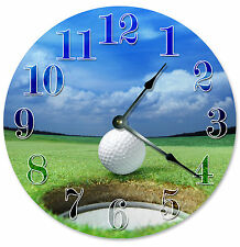 GOLF BALL HOLE CLOCK Large 10.5 inch Round Wall Clock GOLFING GOLFER GIFT - 2073